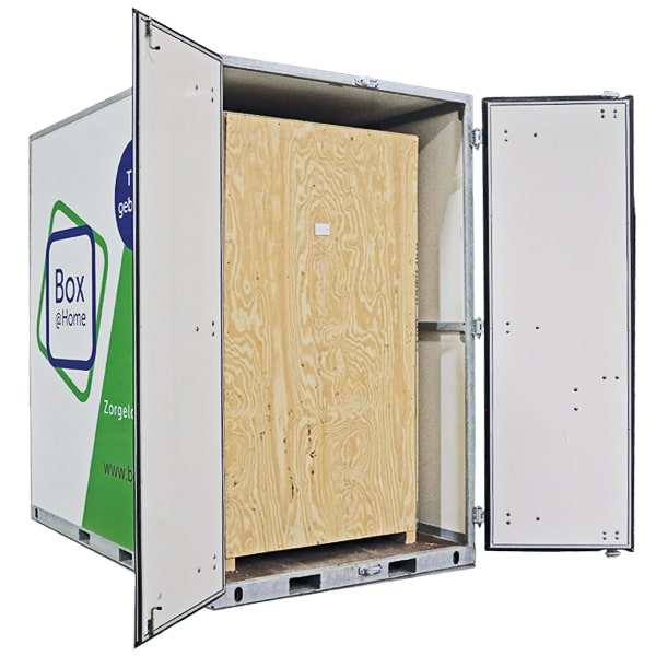 A Medium Box from Box@Home with open doors and closed wooden inner box