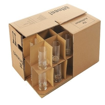 A cardboard removal box with compartment divider for glasses