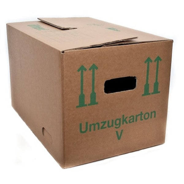 A cardboard removal box with cut-out handles